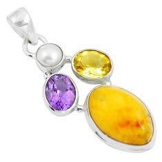 14.45cts natural yellow amber bone amethyst 925 silver pendant jewelry m87672