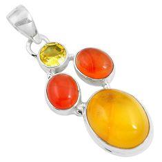 15.02cts natural amber bone cornelian (carnelian) 925 silver pendant m87673