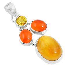 15.55cts natural amber bone cornelian (carnelian) 925 silver pendant m87674