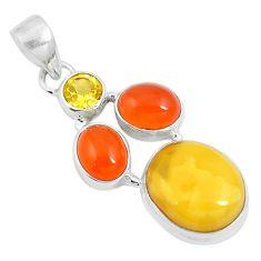 15.02cts natural amber bone cornelian (carnelian) 925 silver pendant m87675