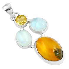 925 sterling silver 15.02cts natural yellow amber bone moonstone pendant m87676
