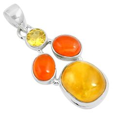 15.02cts natural amber bone cornelian (carnelian) 925 silver pendant m87677