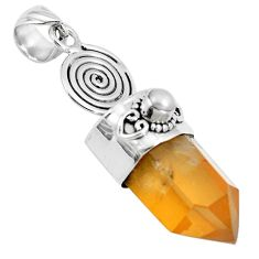 26.85cts natural tangerine lemurian quartz pearl 925 silver pendant m87702