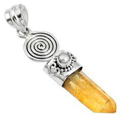 925 silver 16.94cts natural tangerine lemurian quartz white pearl pendant m87704