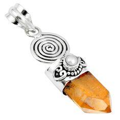 18.79cts natural tangerine lemurian quartz pearl 925 silver pendant m87705