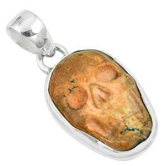 925 sterling silver 13.70cts natural brown picture jasper skull pendant m87784