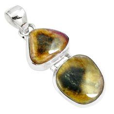13.48cts natural pink bio tourmaline 925 sterling silver pendant jewelry m87863