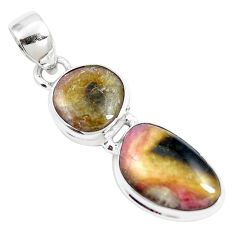 10.41cts natural pink bio tourmaline 925 sterling silver pendant jewelry m87872