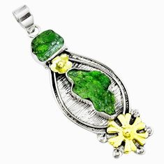 16.89cts victorian green chrome diopside rough silver two tone pendant m87964