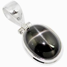 10.41cts natural black star oval 925 sterling silver pendant jewelry m88433