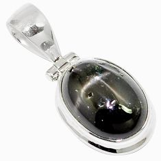 8.42cts natural black star oval 925 sterling silver pendant jewelry m88436