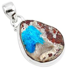 13.67cts natural blue cavansite 925 sterling silver pendant jewelry m88442