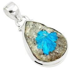 925 sterling silver 11.62cts natural blue cavansite fancy shape pendant m88447