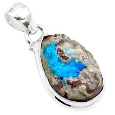 12.18cts natural blue cavansite 925 sterling silver pendant jewelry m88448