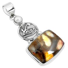 20.65cts natural peanut petrified wood fossil silver horse eye pendant m88505