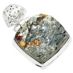 925 silver 24.38cts natural bronze astrophyllite (star leaf) pendant m88568