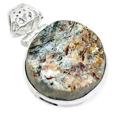 24.00cts natural bronze astrophyllite (star leaf) 925 silver pendant m88573