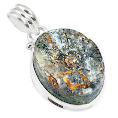 20.65cts natural bronze astrophyllite (star leaf) 925 silver pendant m88574