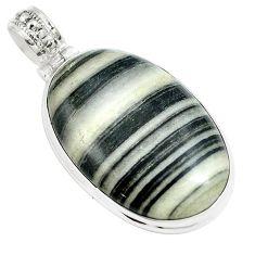 29.40cts natural white zebra jasper 925 sterling silver pendant jewelry m88601