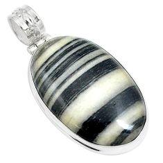 25.57cts natural white zebra jasper 925 sterling silver pendant jewelry m88602