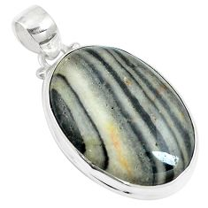 925 sterling silver 22.02cts natural white zebra jasper pendant jewelry m88604