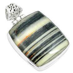 28.30cts natural white zebra jasper 925 sterling silver pendant jewelry m88605