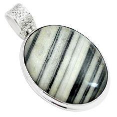 925 sterling silver 28.70cts natural white zebra jasper oval pendant m88608