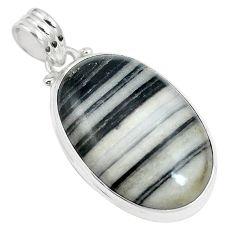 18.68cts natural white zebra jasper 925 sterling silver pendant jewelry m88610