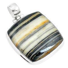 32.10cts natural white zebra jasper 925 sterling silver pendant jewelry m88612