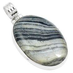 925 sterling silver 28.30cts natural white zebra jasper oval pendant m88613