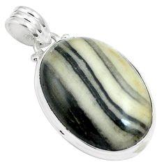 18.15cts natural white zebra jasper 925 sterling silver pendant jewelry m88615