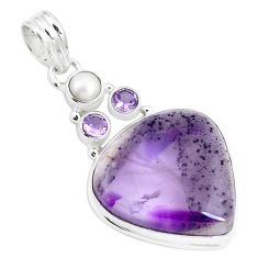 925 sterling silver 21.48cts natural purple amethyst pearl pendant m88617