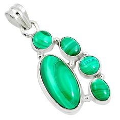 13.84cts natural malachite (pilot's stone) 925 silver pendant jewelry m88766