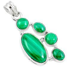 13.45cts natural green malachite (pilot's stone) 925 silver pendant m88769