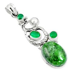 17.80cts natural green chrome diopside 925 silver anaconda snake pendant m89022