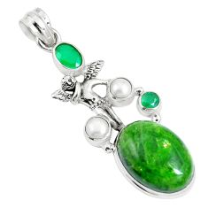 17.81cts natural chrome diopside 925 silver angel wings fairy pendant m89035