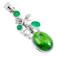 18.22cts natural chrome diopside 925 silver angel wings fairy pendant m89038