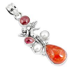 9.84cts natural orange sunstone 925 silver angel wings fairy pendant m89103
