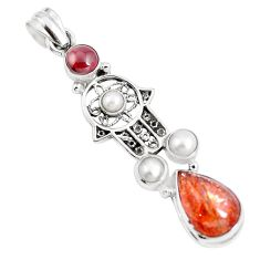 8.96cts natural orange sunstone 925 silver hand of god hamsa pendant m89112