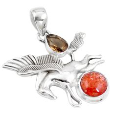 6.78cts natural orange sunstone 925 silver unicorn pendant jewelry m89284