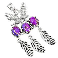 6.69cts purple copper turquoise 925 sterling silver dreamcatcher pendant m89407