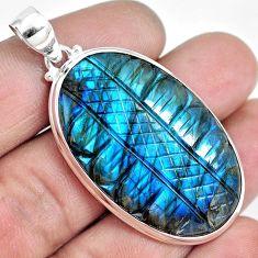 925 sterling silver 41.35cts natural blue labradorite pendant m90284