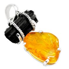16.50cts yellow amber black tourmaline rough fancy 925 silver pendant m90671
