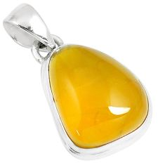 11.07cts natural yellow amber bone 925 sterling silver pendant jewelry m91247