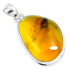 925 sterling silver 18.15cts natural yellow amber bone pendant jewelry m91248