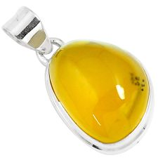 15.02cts natural yellow amber bone 925 sterling silver pendant jewelry m91249
