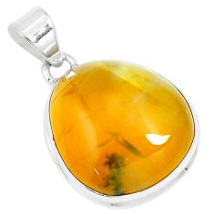 17.42cts natural yellow amber bone 925 sterling silver pendant jewelry m91251