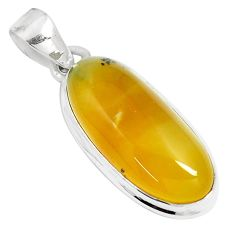 925 sterling silver 12.62cts natural yellow amber bone fancy pendant m91252