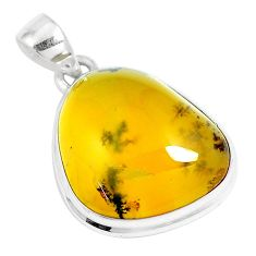 925 sterling silver 17.57cts natural yellow amber bone pendant jewelry m91260