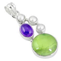 Natural green prehnite amethyst pearl 925 sterling silver pendant m9131